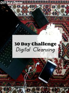30 Day Challenge. Digital Cleansing. DIY in a Dorm